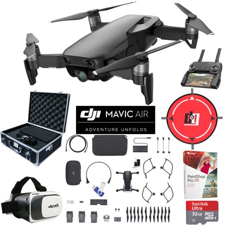DJI Mavic Air Quadcopter Drone Onyx Black Fly More Combo Bundle with 32GB Memory Card, 16GB Flash Drive, Landing Pad, Photographic Equipment Case, VR Viewer, Paintshop Pro 2018 and Cleaning Kit
