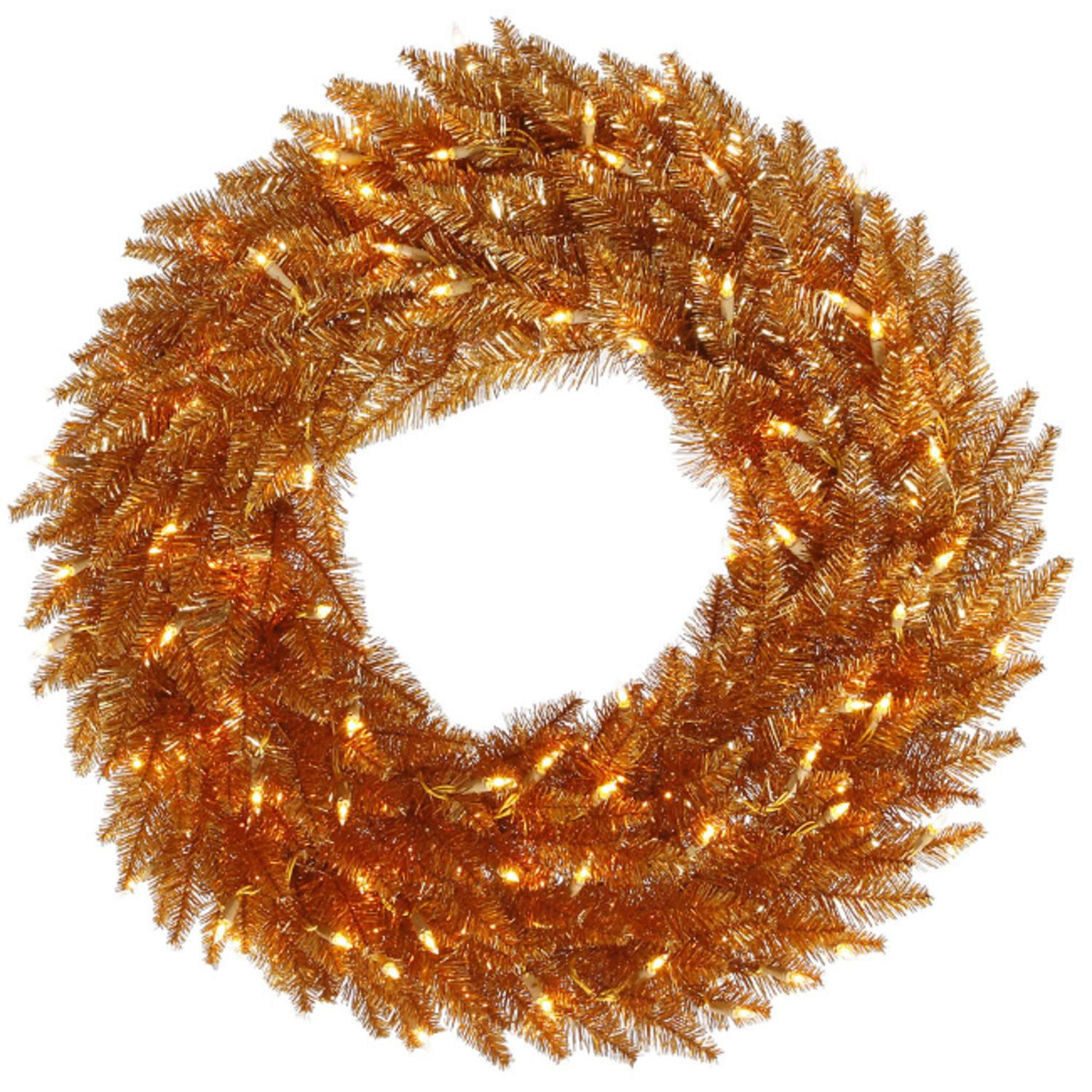 "36"" Pre-Lit Copper Fir Artificial Christmas Wreath - Clear Lights"