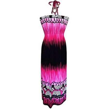 Peach Couture Exotic Tie Dye Self Tie Halter Vacation Maxi Dress Deep Fuchsia XL Dip Dye Maxi Dress
