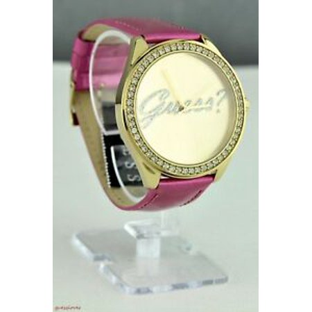 Luxury GUESS Ladies Watch Pink Stainless Steel Leather
