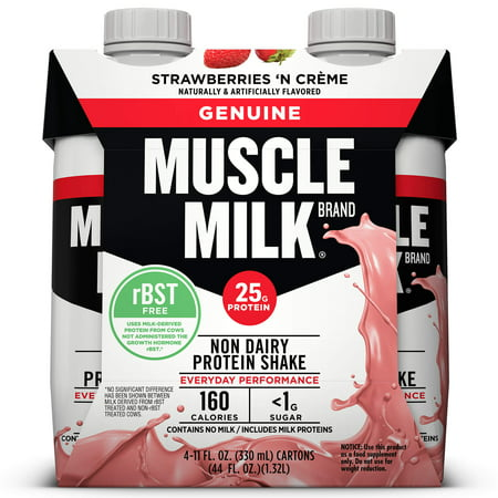 (3 Pack) Muscle Milk Genuine Non-Dairy Protein Shake, Strawberries 'N Crème, 25g Protein, 11 Fl Oz, 4 Ct ()