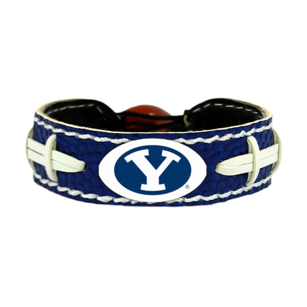 NCAA Brigham Young Cougars Sports Team Logo Leather Football Bracelet