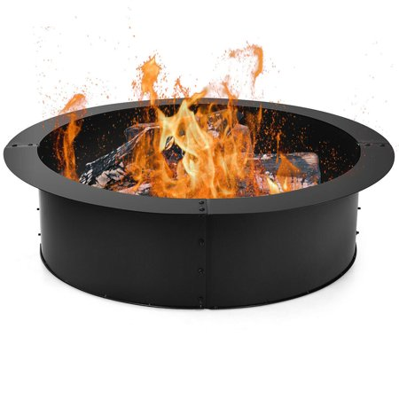 Gymax 36 Inch Round Steel Fire Pit Ring Liner DIY Wood Burning Insert