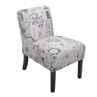 Jaxpety Large Size Single Leisure Sofa Accent Chair Armless with Solid Wood Legs Home Living Room, Gray French Print
