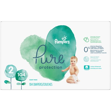Pampers Pure Protection Disposable Diapers Giant Pack - Size 2 (104ct)