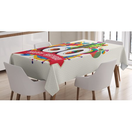 60th Table Decorations (60th Birthday Decorations Tablecloth, Modern Geometric Fairytale Theme Castle Boat Sixty Party Image, Rectangular Table Cover for Dining Room Kitchen, 52 X 70 Inches, Multicolor, by)