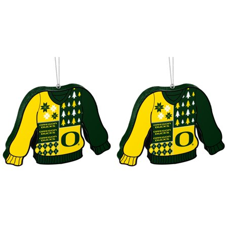NCAA Oregon Ducks Foam Ugly Sweater Christmas Ornament Bundle 2 Pack By Forever Collectibles