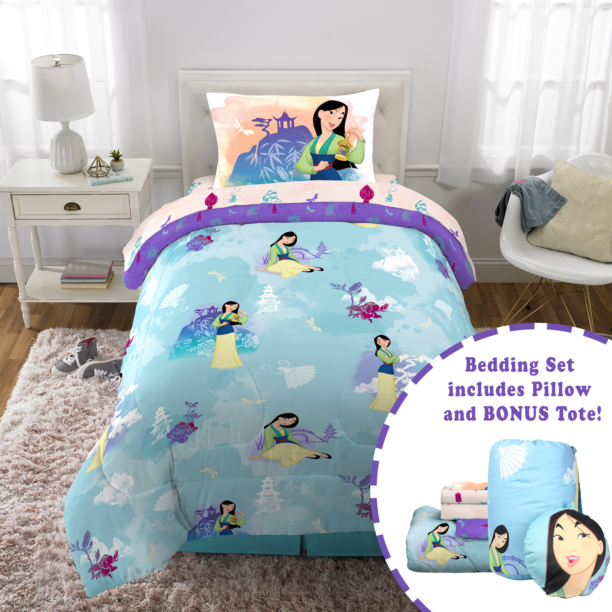 Disney S Mulan Twin Bed In A Bag Bedding Set W Reversible Comforter Decorative Pillow And Bonus Tote Walmart Com Walmart Com