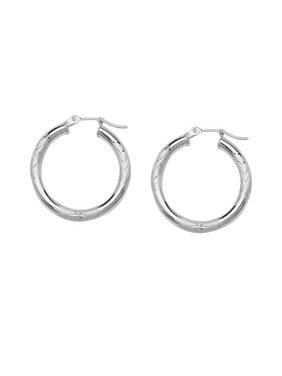 87d837fdc Product Image 14k White Gold Florentine Diamond-Cut Engraved Hoop Earrings  3x25mm. AzureBella Jewelry