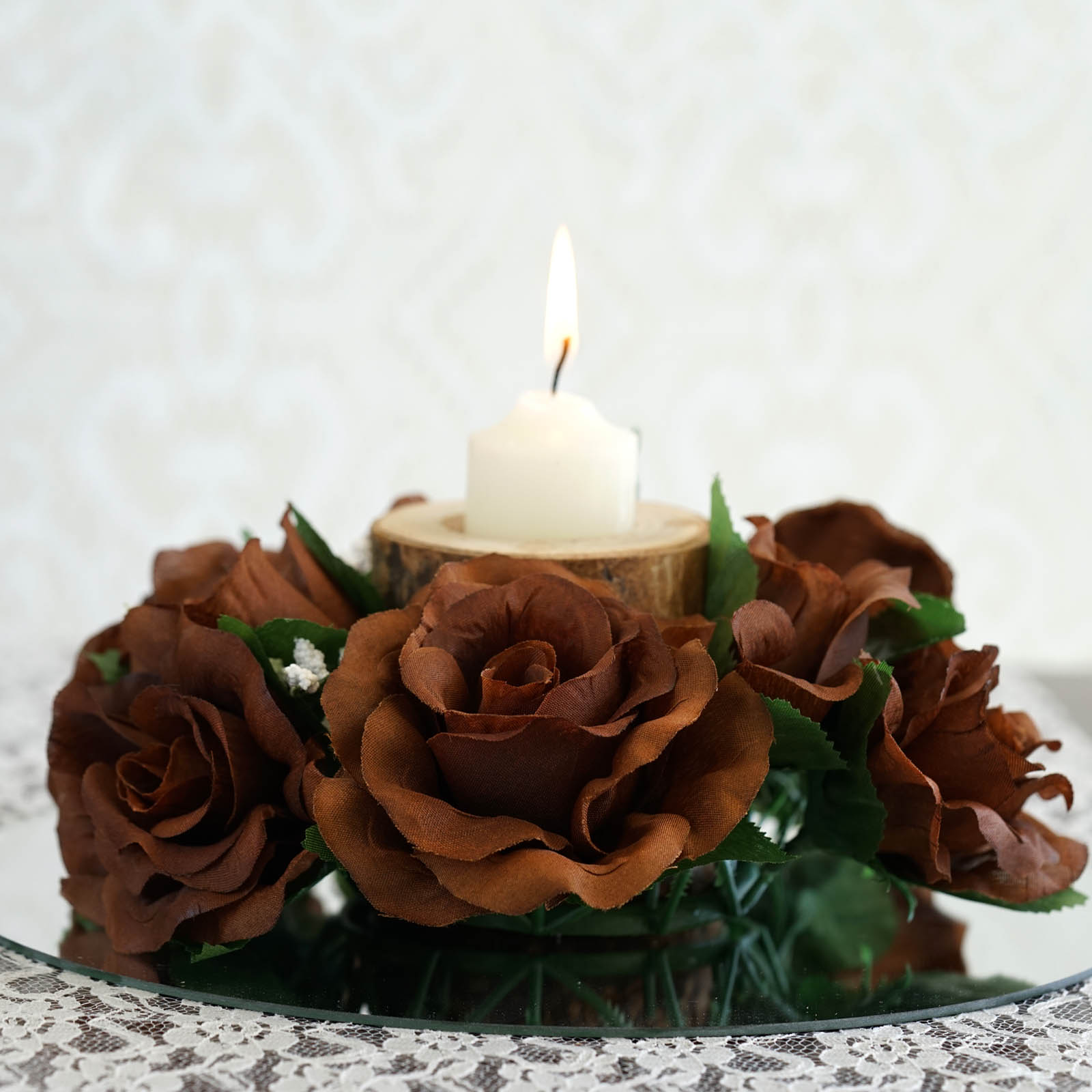 BalsaCircle 8 Silk Roses Flowers Candle Rings Wedding Centerpieces ...