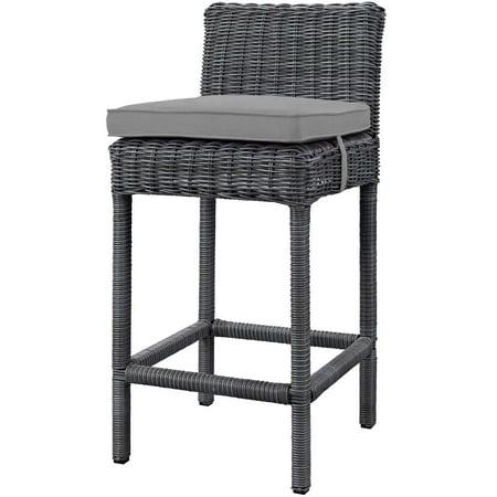 Contemporary Modern Urban Designer Outdoor Patio Balcony Garden Furniture Bar Side Stool Chair, Sunbrella Fabric Rattan Wicker, Grey Gray ()