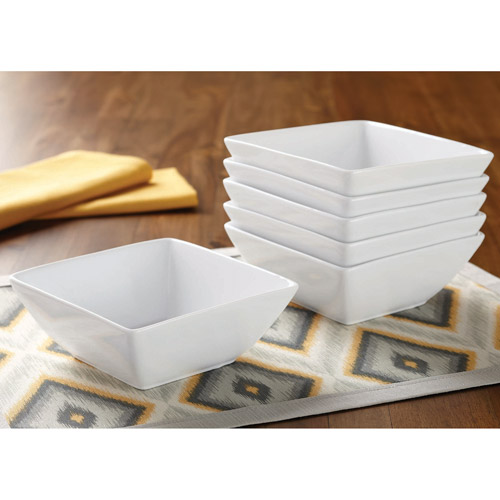 Better Homes and Gardens Square Bowls, White, Set of 6