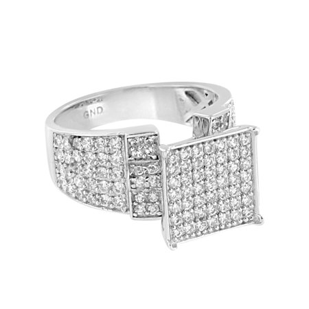 Sterling Silver Square Face Ring 14k White Gold Finish Lab Created Cubic Zirconias Prong Set