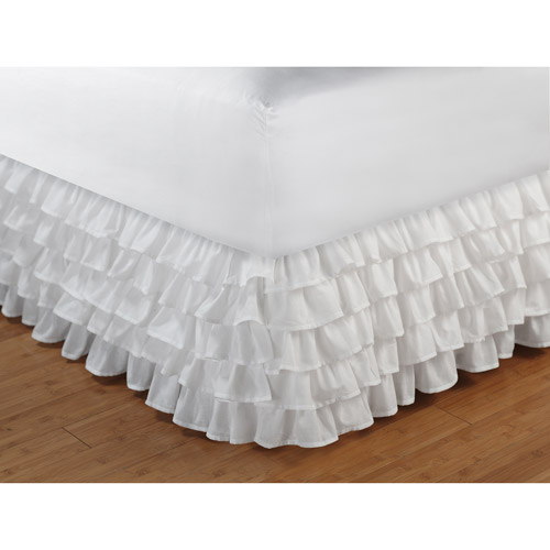 Global Trends Multi-Ruffle Bed Skirt, White, 15-inch Drop Length