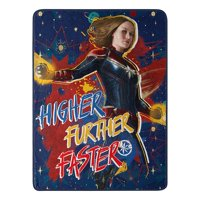"Marvel's Captain Marvel, ""Higher, Further, Faster"" Micro Raschel Throw Blanket, 46"" x 60"", Multi Color"