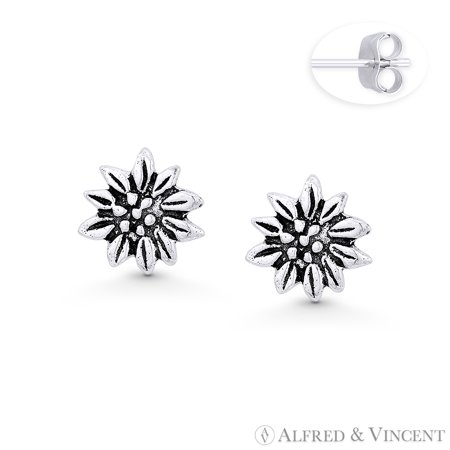 Water Lily Flower Charm Stud Earrings w/ Push-Back Posts in Oxidized .925 Sterling Silver