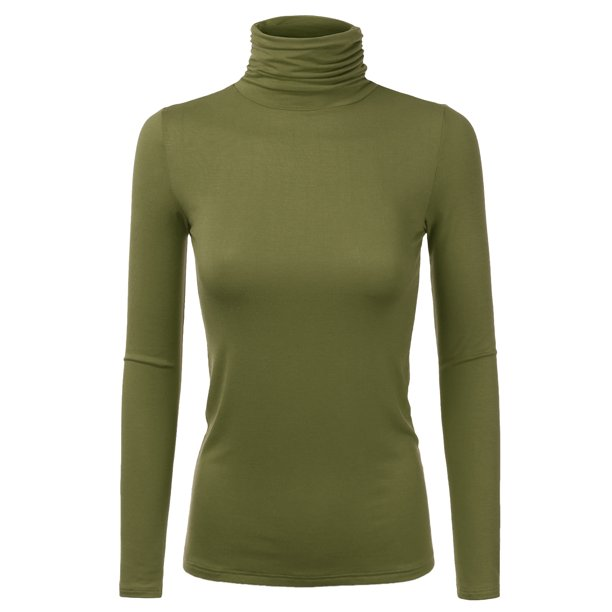 Doublju Women's Basic Slim Fit Sweater Long Sleeve Turtleneck T Shirt Top Pullover OLIVE 1X Plus Size
