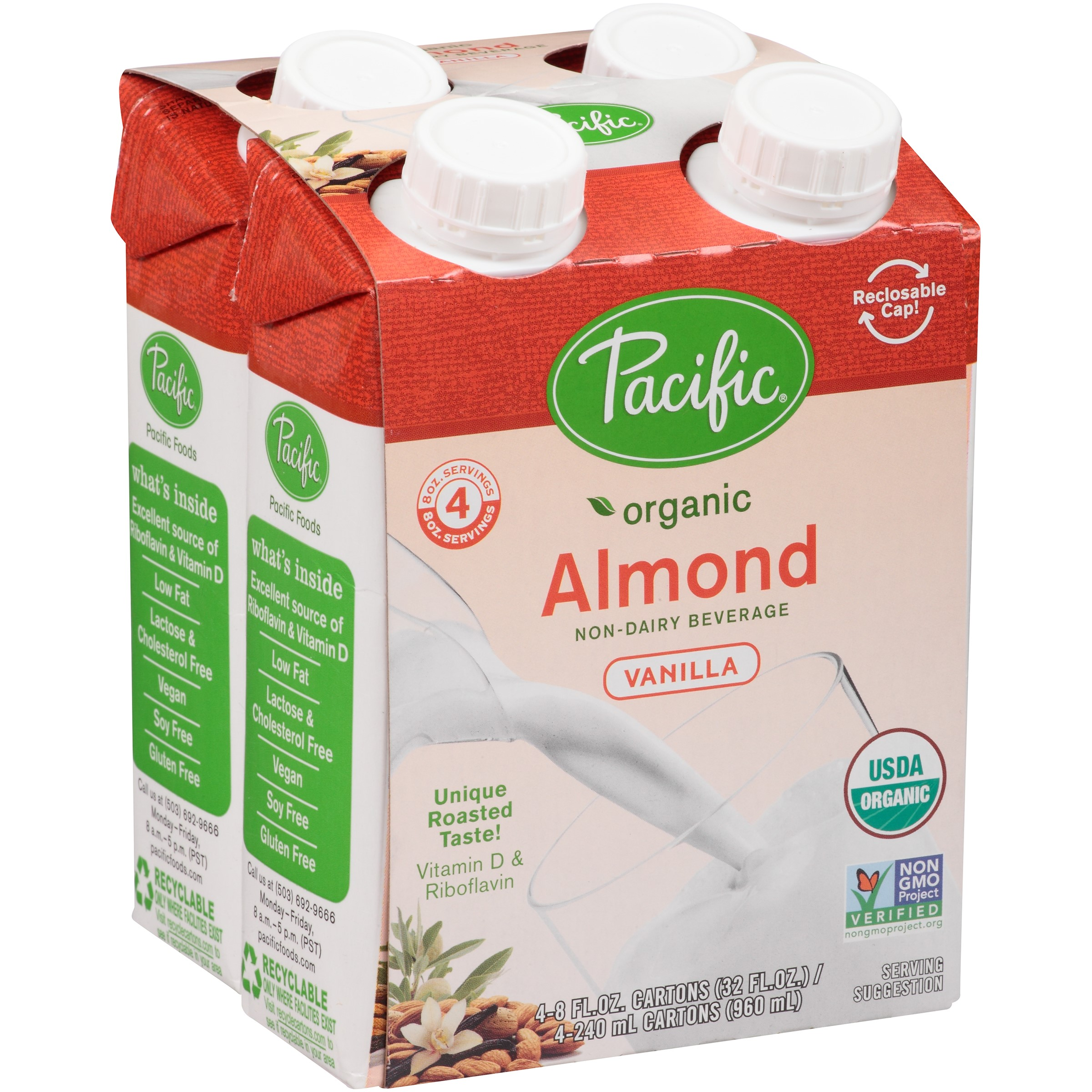 Pacific Foods Organic Almond Vanilla Beverage, 8-Ounces