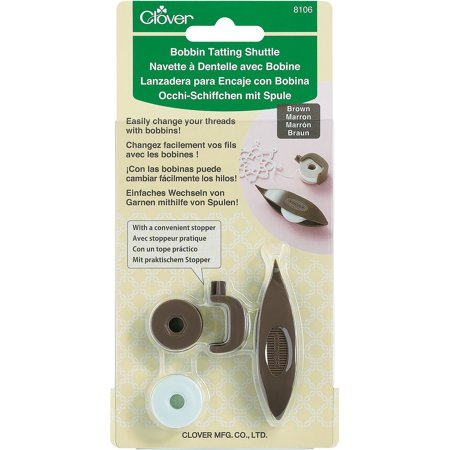 Clover Bobbin Tatting Shuttle Set Brown
