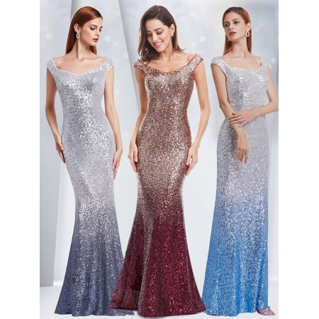 Ever-Pretty Womens Sequins Off Shoulder Mermaid Long Wedding Party Mother of the Bride Dresses for Women 08999 Grey US (Confetti Sequins Dress)