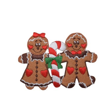 Gingerbread Man/Woman - Christmas Couple - Candy cane - Iron on  Applique/Embroidered Patch