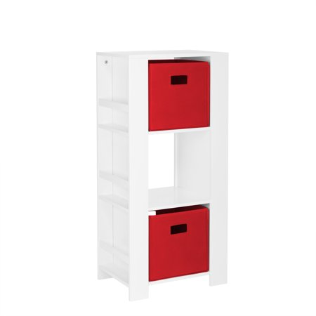 RiverRidge Book Nook Collection Kids Cubby Storage Tower with Bookshelves with 2pc Bin - Red ()