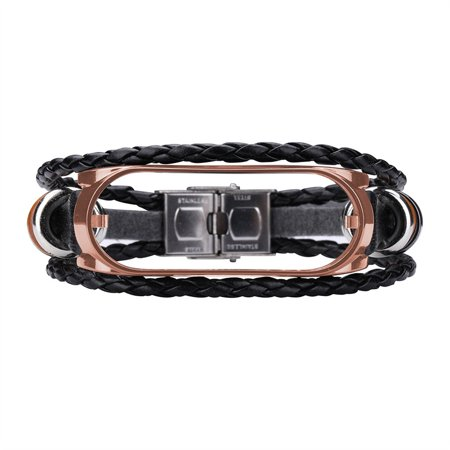 【LNCDIS】Replacement Leather Beading Strap Bracelet Weave Braided For Xiaomi Mi Band 4