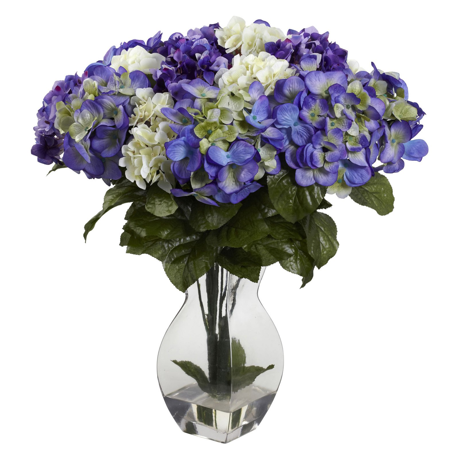 Nearly Natural Hydrangea Silk Flower with Glass Vase