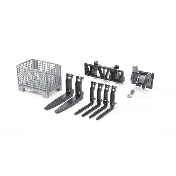 Bruder Accessories For Frontloader: Box-Type Pallet, Winch