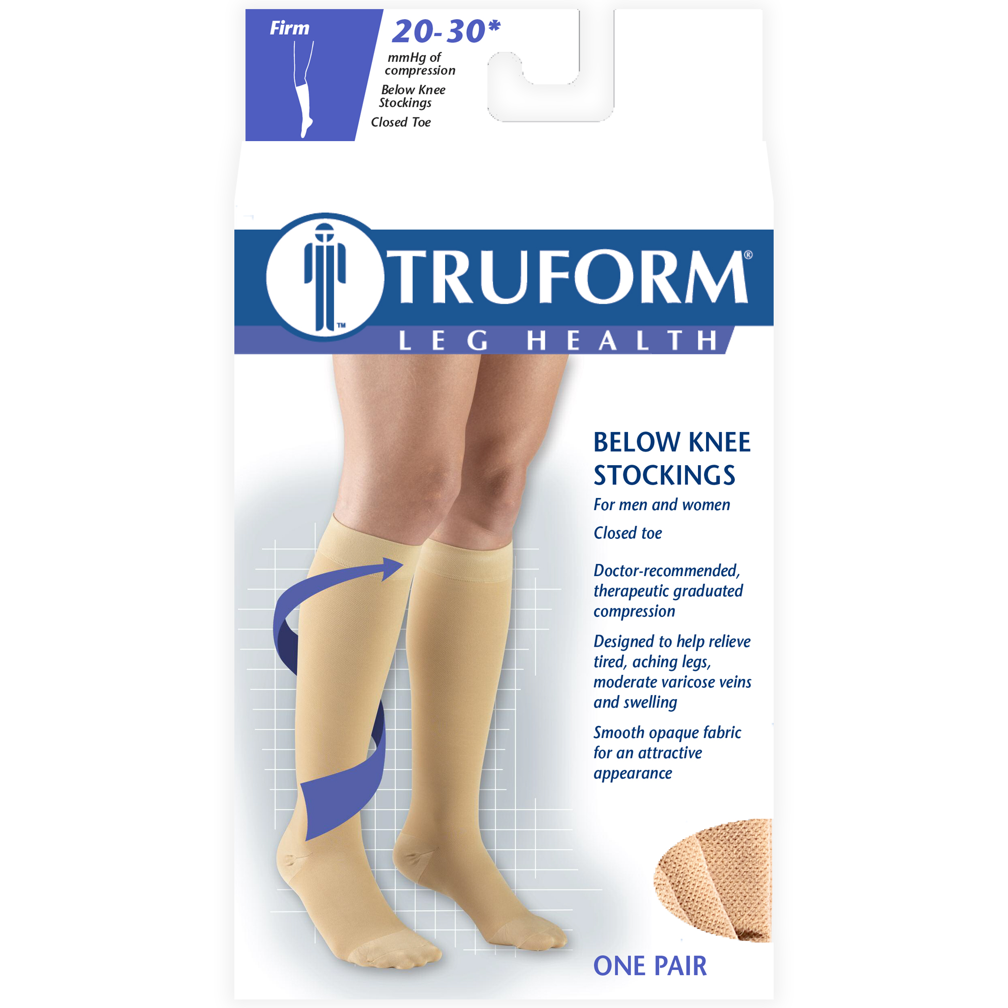 656b8c25e6e6bd Truform Stockings, Knee High, Closed Toe: 20-30 mmHg, Beige, X-Large -  Walmart.com