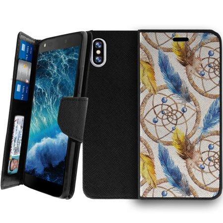 Wallet Case For Apple Iphone X 2017  Magnetic Shut Folio Case For Iphone X  Apple Iphone X Leather Case  Clip Folio  Kickstand Secure Id Case Case   Dream Catcher