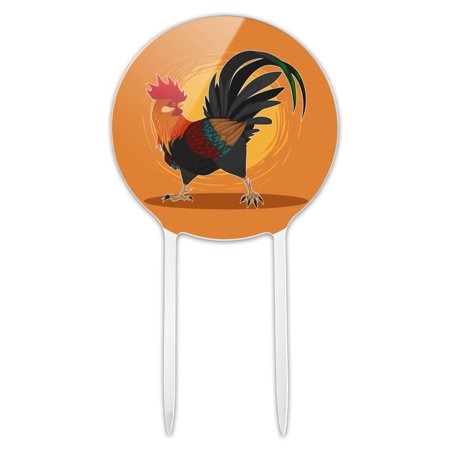 Acrylic Rooster of Awesomeness Chicken Cake Topper Party Decoration for Wedding Anniversary Birthday Graduation ()