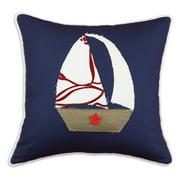 Brite Ideas Living Duck Navy Sailboat Pillow