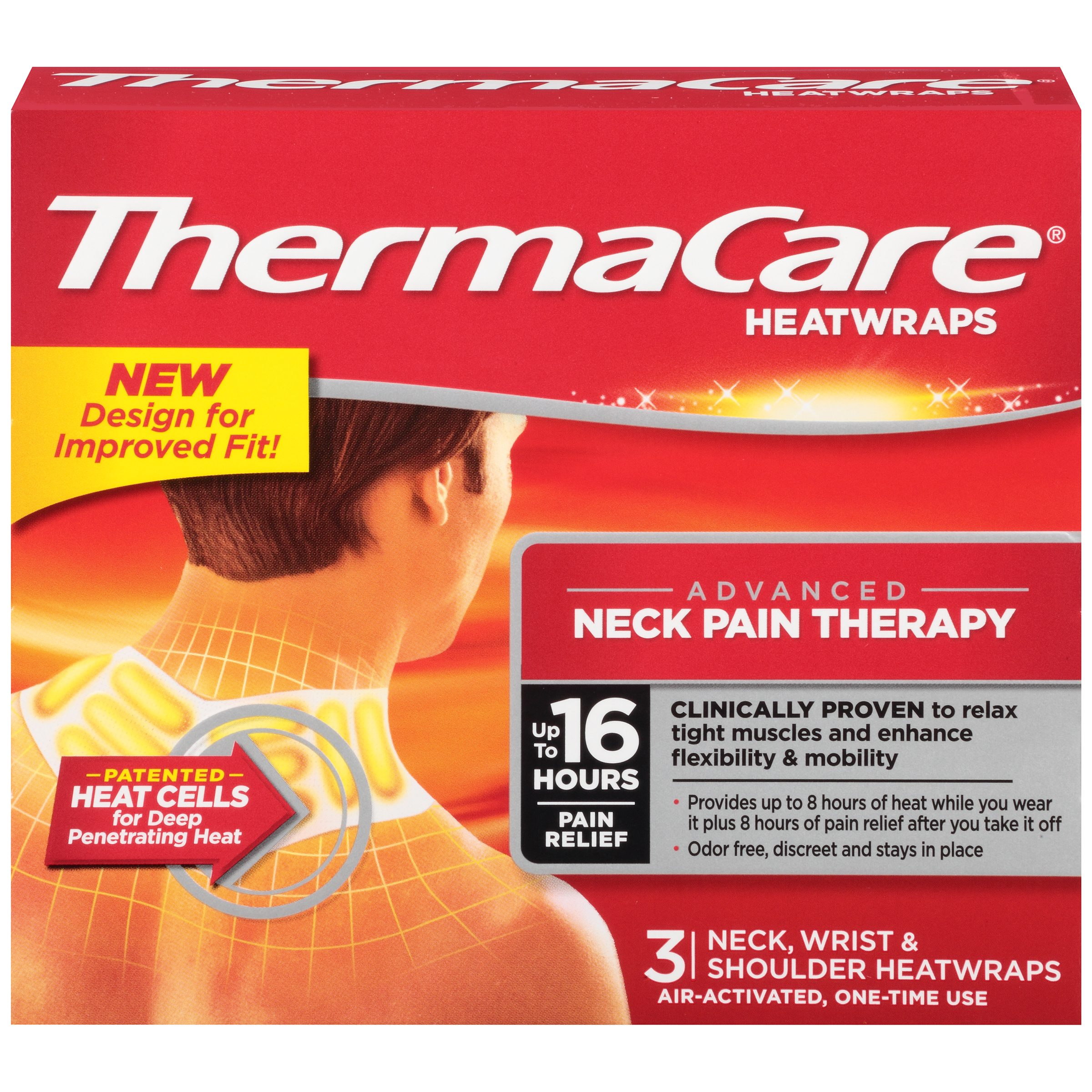 ThermaCare Advanced Neck Pain Therapy (3 Count) Heatwraps, Up to 16 Hours Pain Relief, Neck, Wrist, Shoulder Use, Temporary Relief of Muscular, Joint Pains