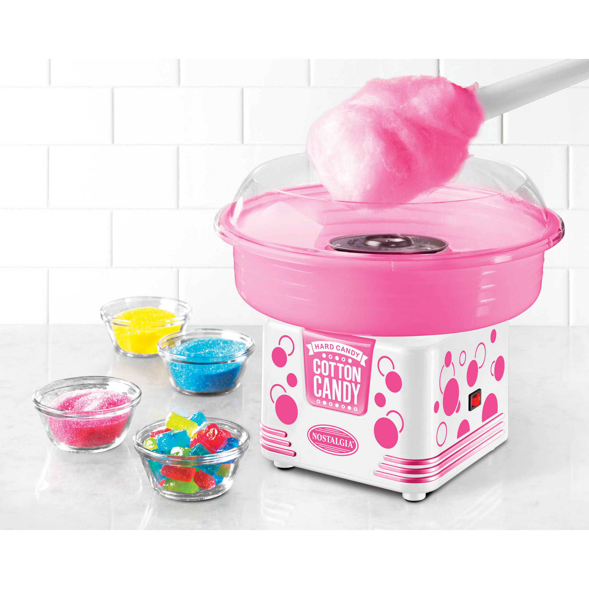 Nostalgia PCM405WMLN Hard and Sugar-Free Hard Candy Cotton Candy Maker