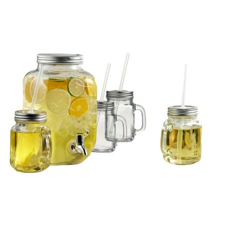 Brilliant Glass Mason Jar Drink Dispenser and Mason Jar Mugs with Lids and Straws, 5-Piece Drinking Set ()