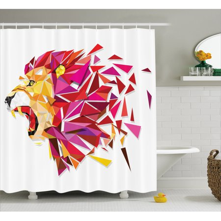 Geometric Decor Shower Curtain, Polygon Art Stylized Lion King Figure with in Gradient Tones Modern Art Print, Fabric Bathroom Set with Hooks, 69W X 84L Inches Extra Long, Multi, by Ambesonne
