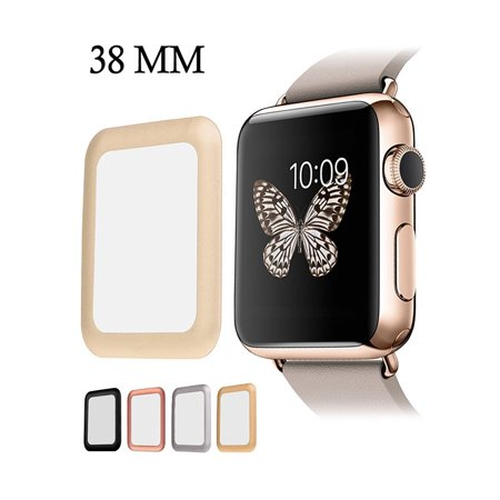 iClover Apple Watch Screen Protector 38MM Full Coverage [Anti-Scratch]Tempered Glass Apple Watch Series 1/2/3 Cover with High Definition & 3D Curved Edge Screen Protector(Gold)