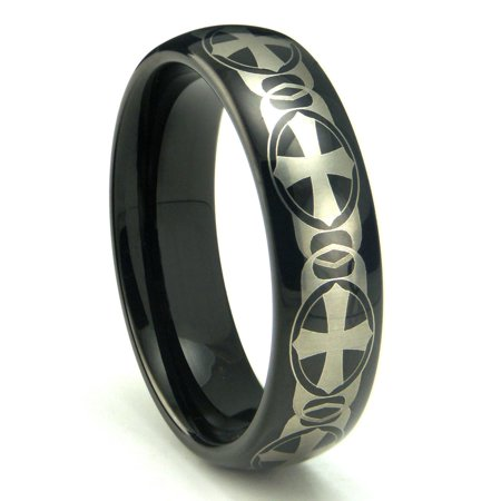 Black Tungsten Laser Engraved Celtic Cross Dome Wedding Band Ring Sz 10.0