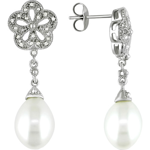 Miabella 9.5-10mm White Cultured Freshwater Pearl and Diamond Accent Sterling Silver Earrings