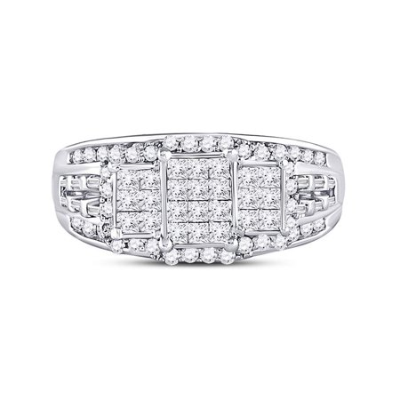 10kt White Gold Womens Princess Diamond Triple Cluster Ring 1.00 Cttw - image 3 of 4
