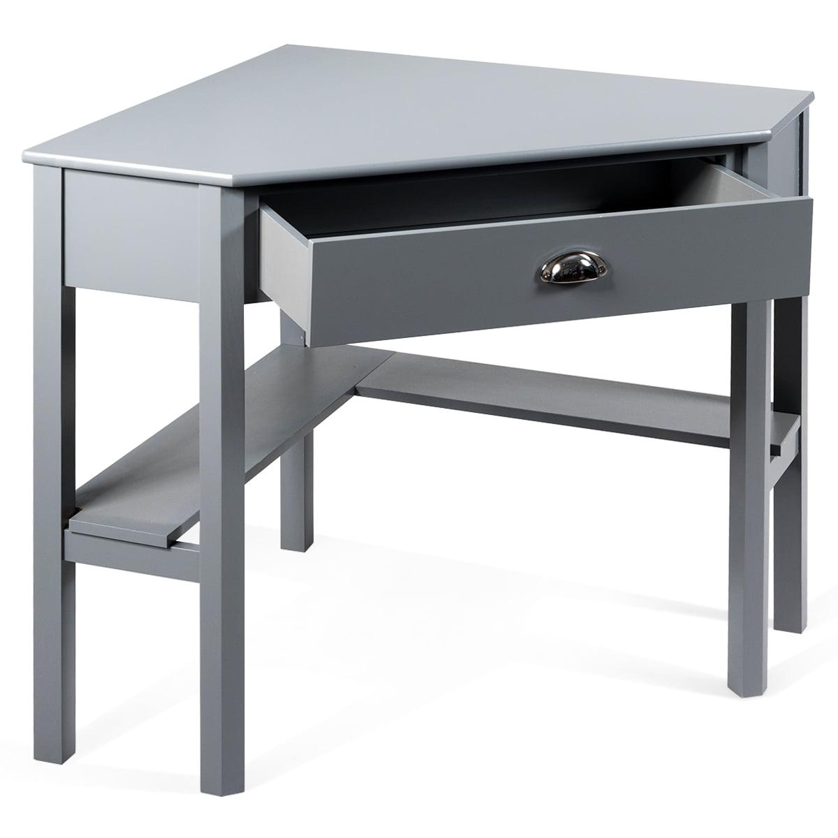 Costway Corner Computer Desk Laptop Writing Table Wood Workstation Home Office Furniture Gray Walmart Com Walmart Com