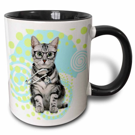 3dRose Silver Tabby Cat in Eyeglasses with a Stethoscope Doctor, Two Tone Black Mug, 11oz