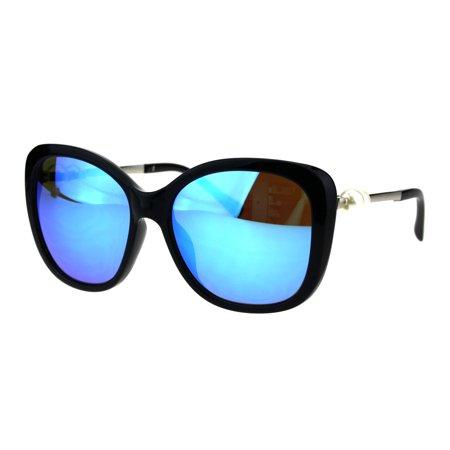 Womens Pearl Jewel Diva Butterfly Designer Fashion Plastic Sunglasses Black Blue Mirror