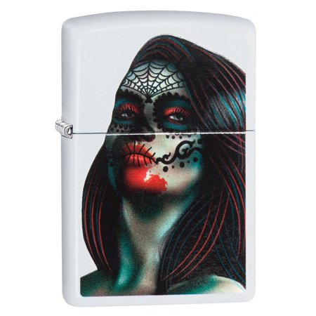 Zippo 29400 White Matte Day of the Dead Lady Tattoo