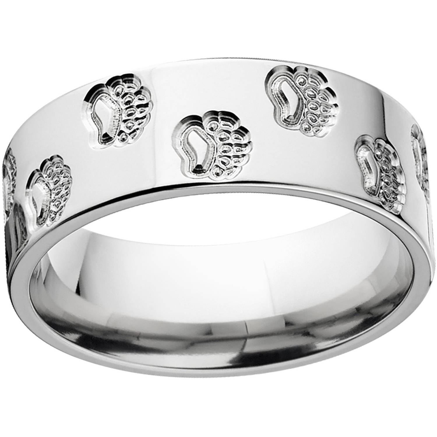 Mens Bear Track 8mm Stainless Steel Wedding Band with Comfort Fit