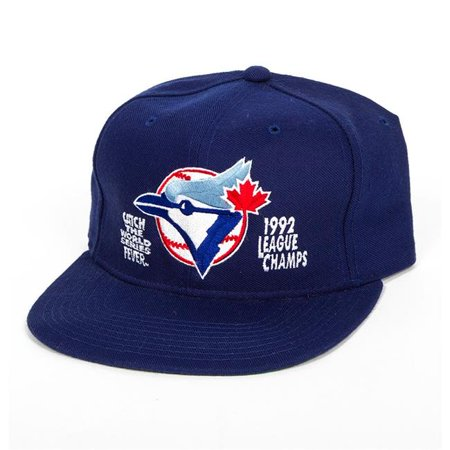 American League Official Baseball - AJ Sports World Z1328C Toronto Blue Jays 1992 American League Champs Official New Era Baseball Cap, Blue