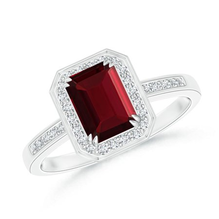 Valentine Jewelry Gift - Emerald-Cut Garnet Engagement Ring with Diamond Halo in Platinum (7x5mm Garnet) - SR0683GD-PT-AAA-7x5-4.5