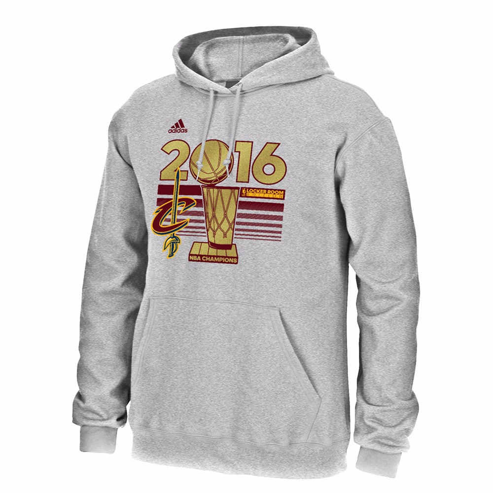 Cleveland Cavaliers NBA Adidas Grey Full Primary Team Logo Fleece Hoodie For Men by Adidas