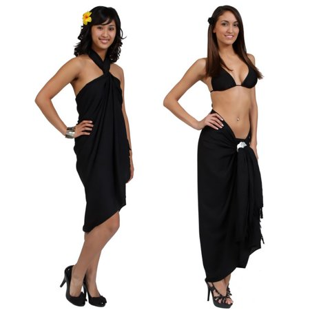 1 World Sarongs Womens Beach Cover-up Solid Color Sarong in Black